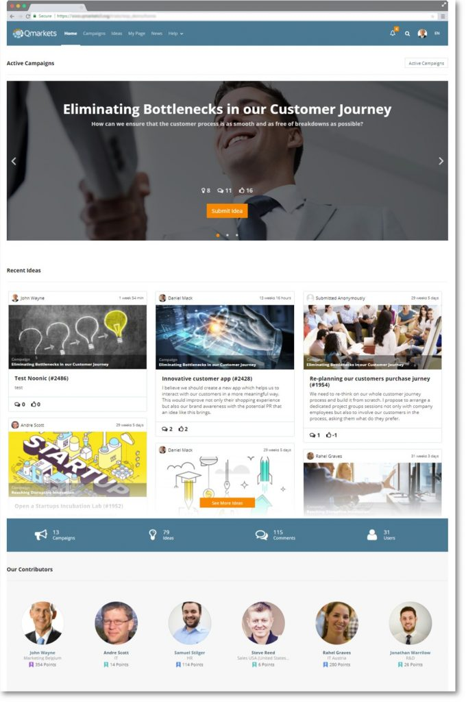 Interface of crowdsourcing platform for harnessing the power of creativity and innovation management